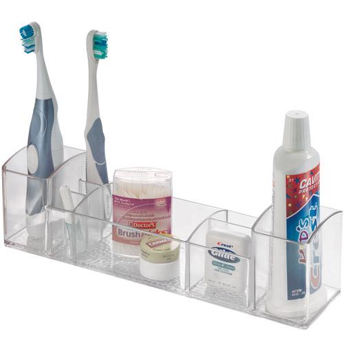 Acrylic vanity organizer medium in cosmetic organizers for Bathroom accessories organizer