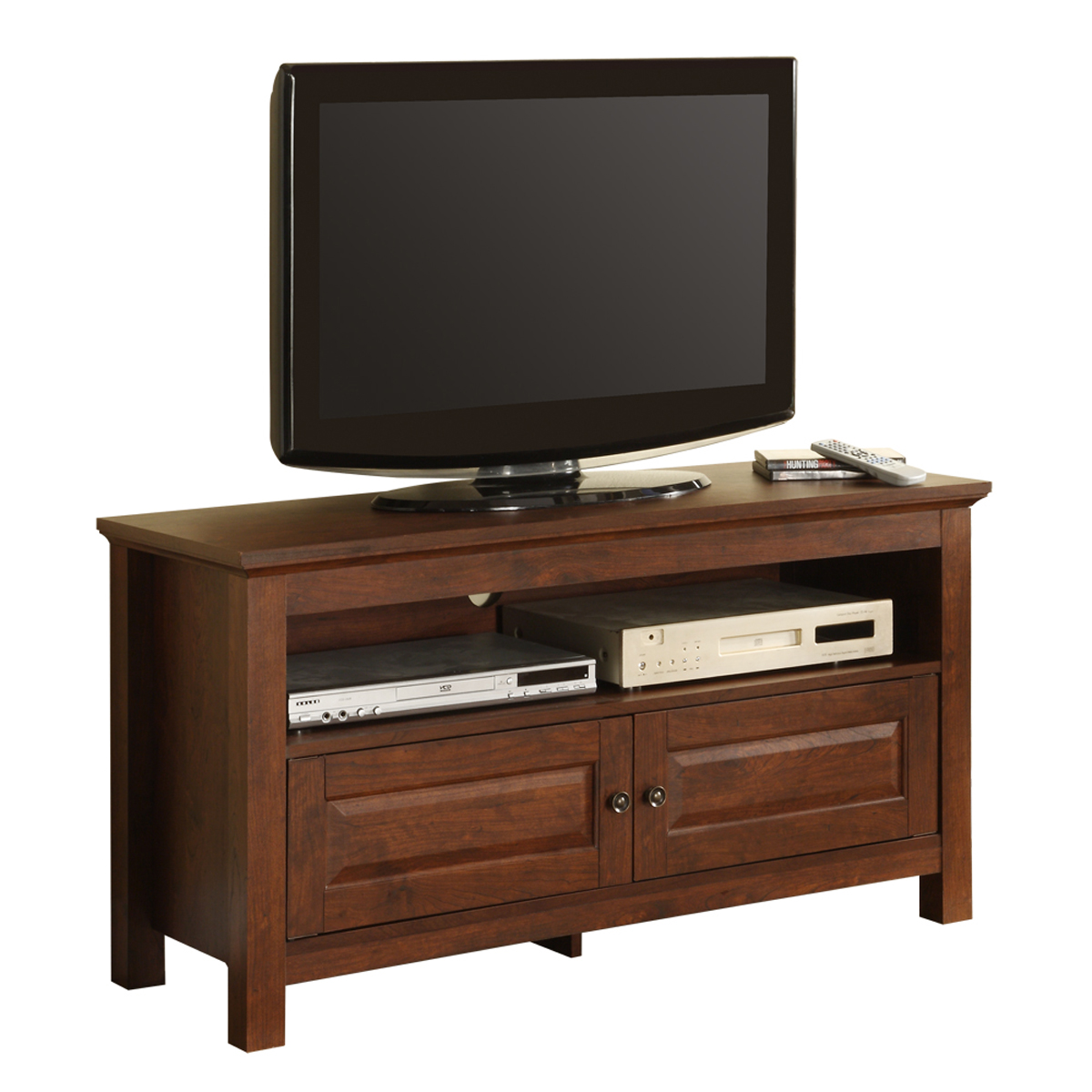 44 inch wood tv stand with media storage by walker edison. Black Bedroom Furniture Sets. Home Design Ideas
