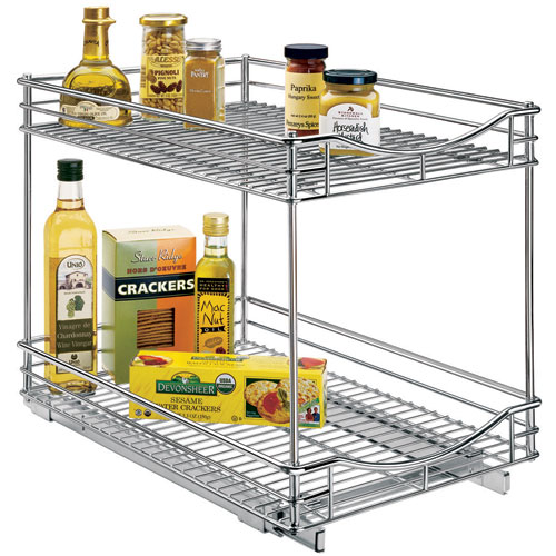 Two tier sliding cabinet organizer 14 inch in pull out for Kitchen cabinets 14 inches deep