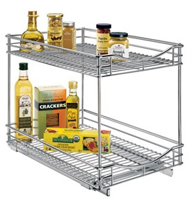 Deep Two-Tier Sliding Cabinet Organizer - 14 Inch Image