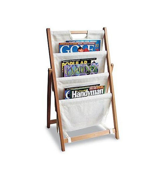 Folding canvas magazine stand in floor racks