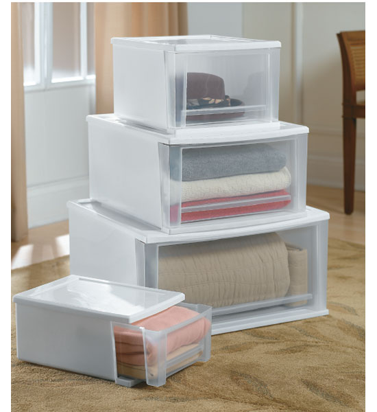 stackable plastic storage drawers white image