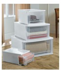 Stackable Plastic Storage Drawers - White