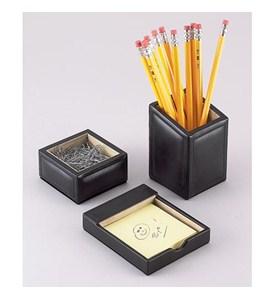 Black leather desk organizer set in desk accessories - Desk set organizer ...