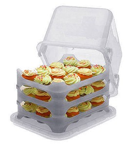 Plastic Cake and Cupcake Carrier - Clear Image