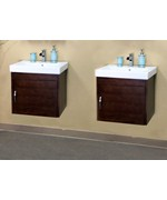 48.8 Inch Square Double Cabinet Single Sink Vanity Wood by Bellaterra Home