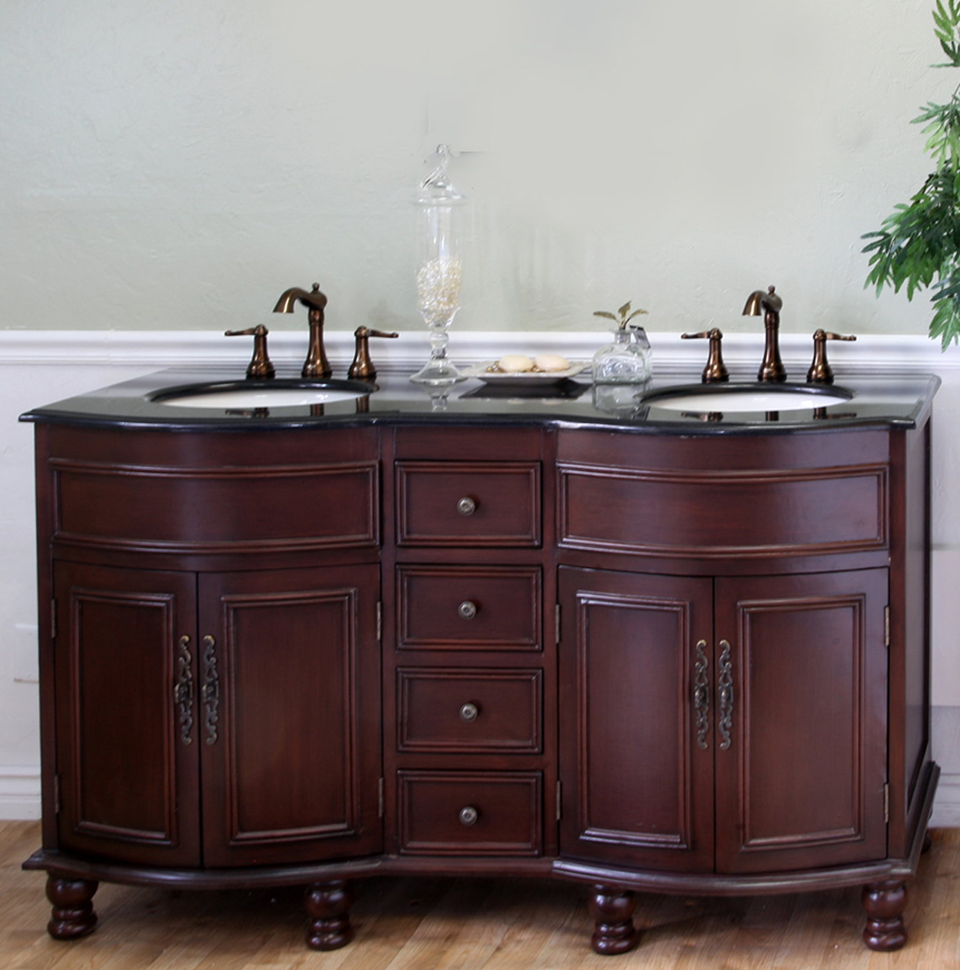 colonial cherry double sink traditional wood vanity by bellaterra home in bathroom vanities. Black Bedroom Furniture Sets. Home Design Ideas