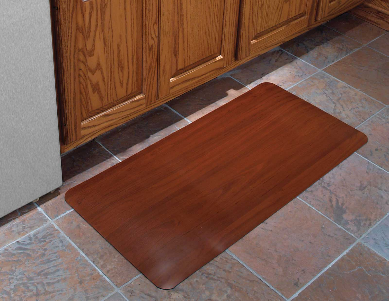 24x36 Inch Cushioned Floor Mat Wood Grain In Kitchen Mats