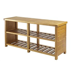 Bench with Shelves - Teak Finish Image