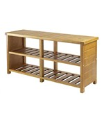 Bench with Shelves - Teak Finish
