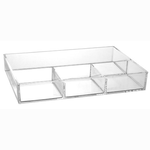 4 Compartment Acrylic Accessory Tray In Cosmetic Organizers