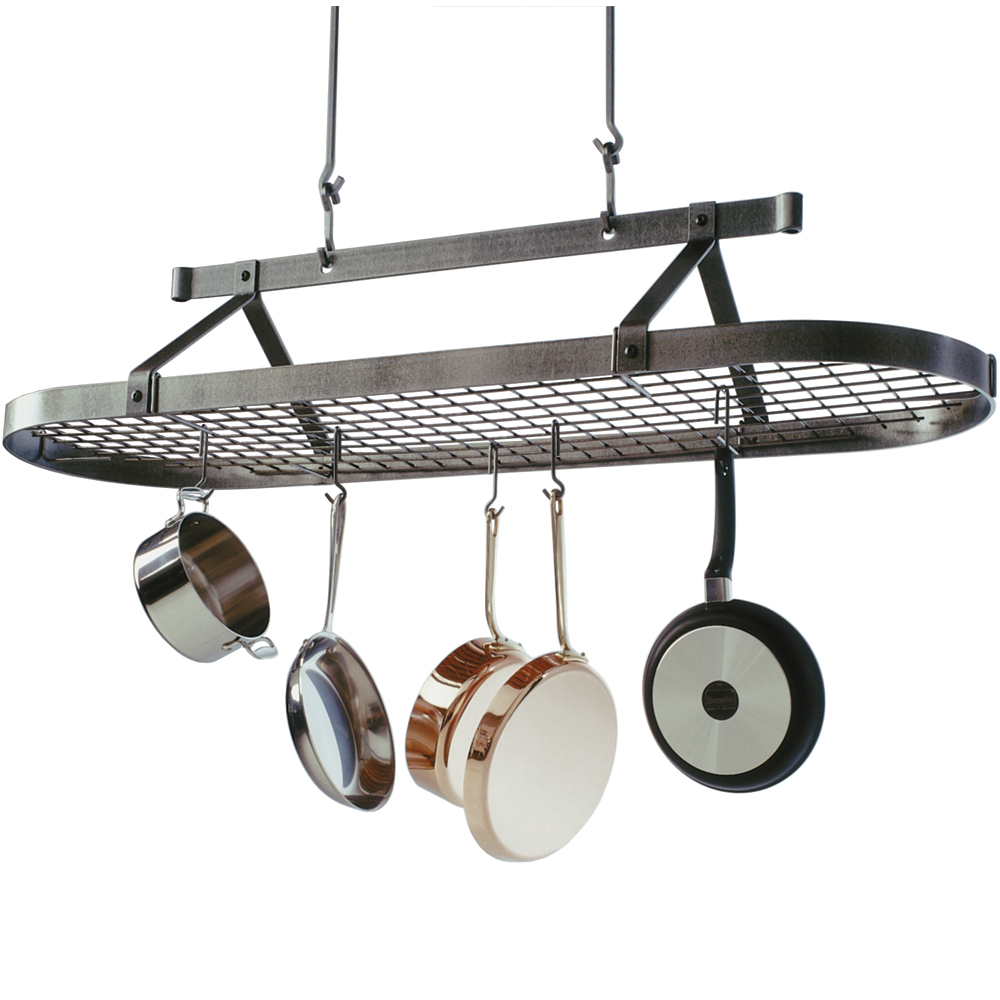 5 foot oval hanging pot rack in hanging pot racks for Pot racks for kitchen
