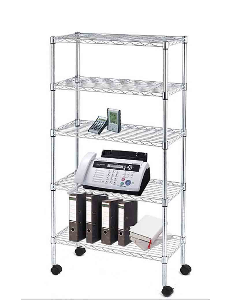 5 Shelf Wire Shelving Unit In Free Standing Shelves