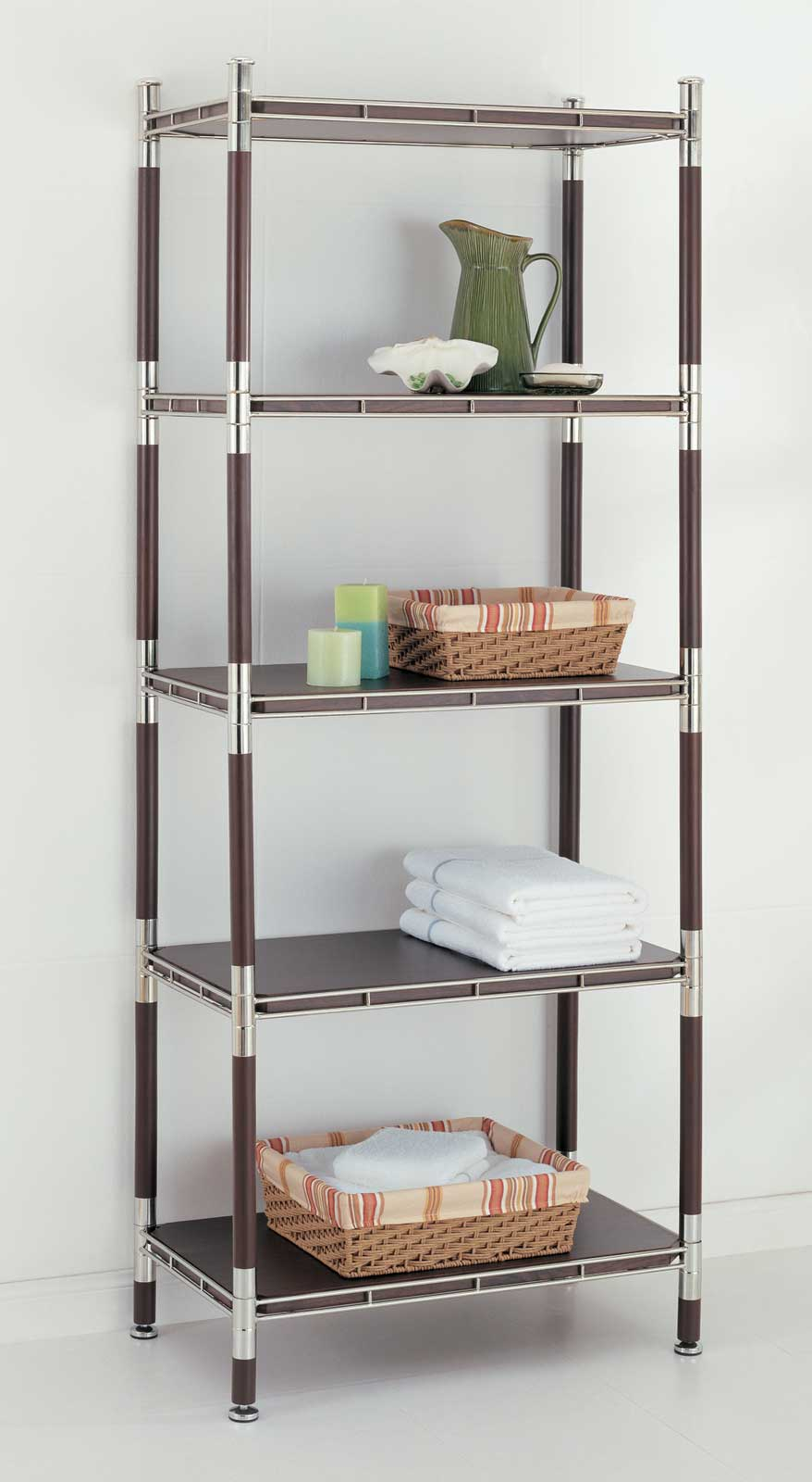 5 Tier Wood And Chrome Shelving Unit In Bathroom Shelves