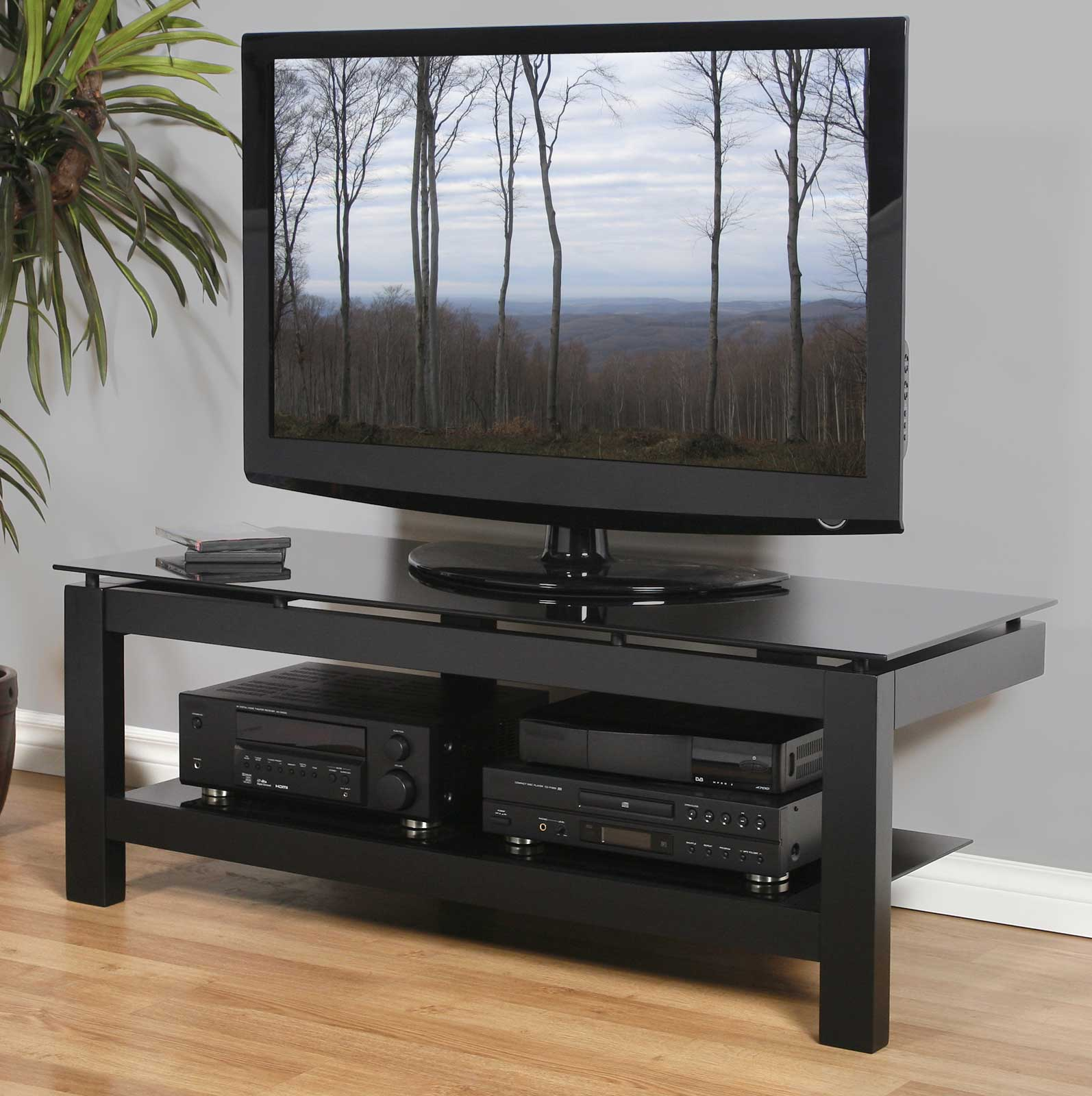 low profile 50 inch tv stand black in tv stands. Black Bedroom Furniture Sets. Home Design Ideas