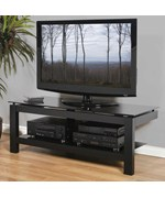 50 Inch Flat Screen Low Profile TV Stand - Black Glass and Black Satin Finish
