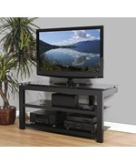 50 Inch Flat Screen TV Stand - Natural Wood Veneers and Black Glass Shelves
