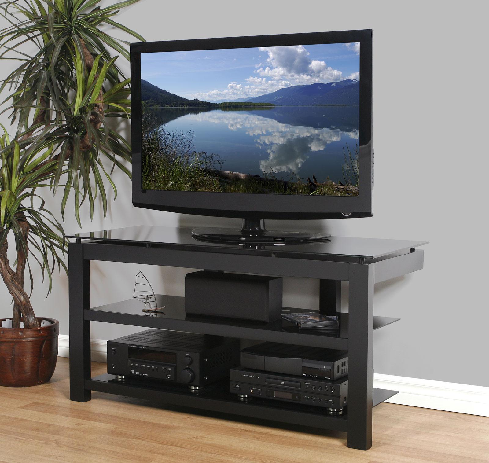 50 Inch Flat Screen TV Stand   Natural Wood Veneers And Black Glass Shelves  ...