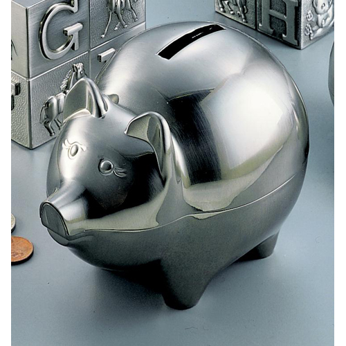 Brushed Nickel Plated Piggy Bank Image