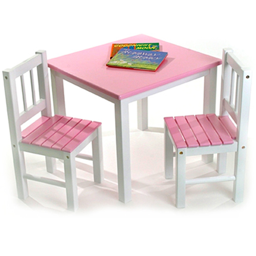 Childrens wooden table and chairs pink image for Pink kids chair