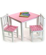 Childrens Wooden Table and Chairs - Pink