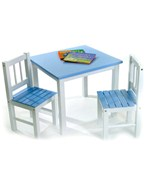 Childrens Wooden Table and Chairs - Blue