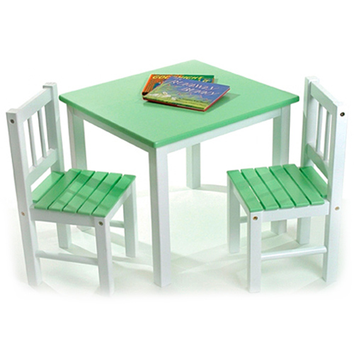 Childrens Wooden Table and Chairs - Green Image
