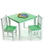 Childrens Wooden Table and Chairs - Green
