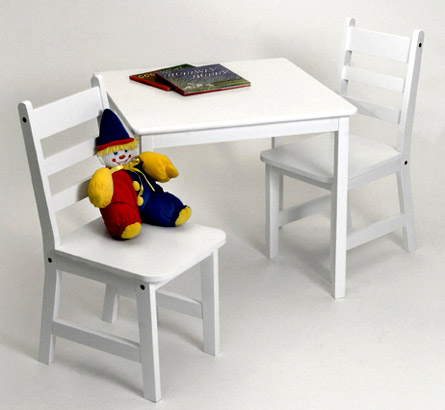Childrens Wooden Table and Chairs - White Image