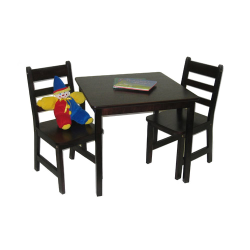 Childrens Wooden Table and Chairs - Espresso Image