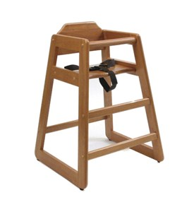 Wooden High Chair - Pecan Image