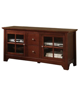 52 Inch Wood TV Stand with Drawers and Glass Doors by Walker Edison Image