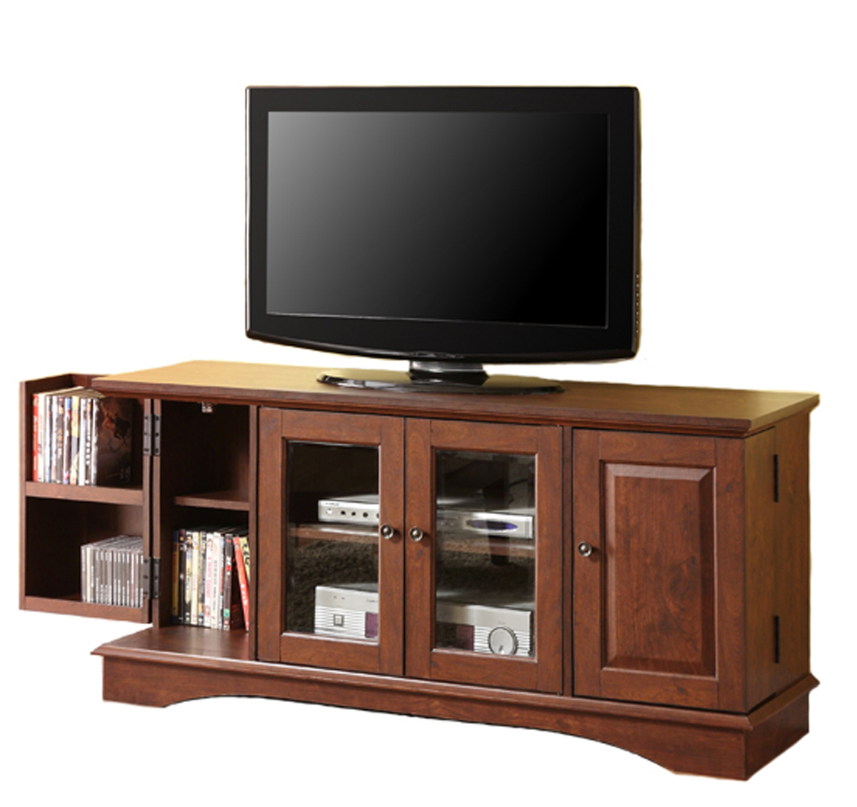 52 inch wood tv stand with media storage by walker edison. Black Bedroom Furniture Sets. Home Design Ideas