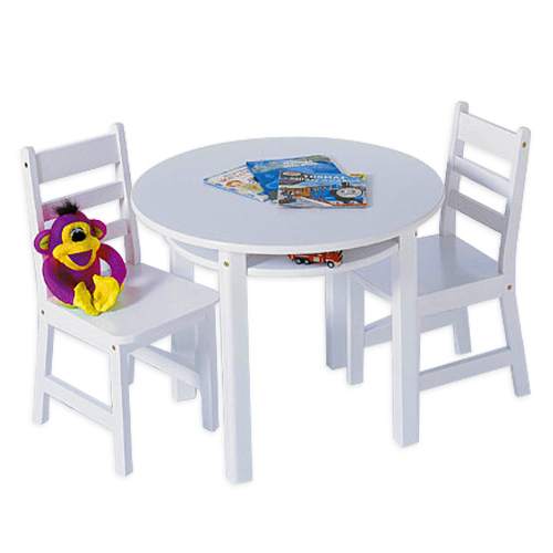 Childrens Table and Chairs Set - White Image