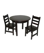 Childrens Table and Chairs Set - Espresso