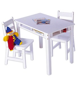 Kids Table and Chair Set - White Image
