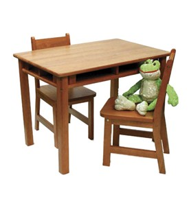 Kids Table and Chair Set - Pecan Image