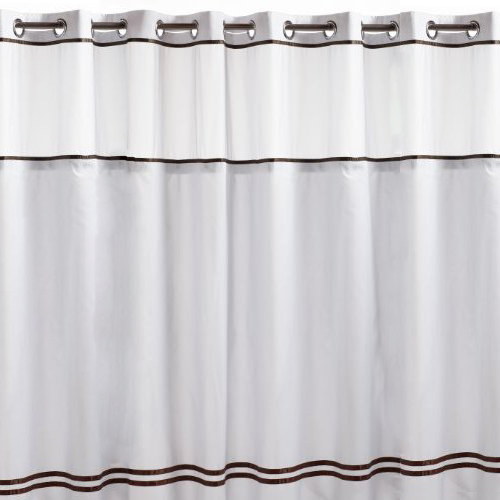 Hookless Fabric Shower Curtain White And Brown In Shower Curtains And Rings