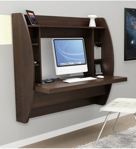 Wall Mounted Desk with Storage - Espresso Image