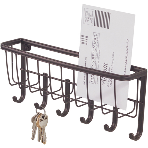 InterDesign Wall Mount Mail and Key Rack - Bronze Image