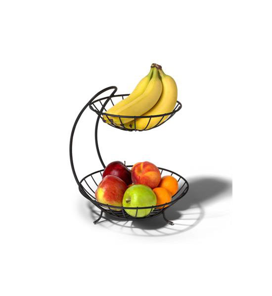 Black two tier fruit bowl in bread and fruit baskets - Tiered fruit bowl ...