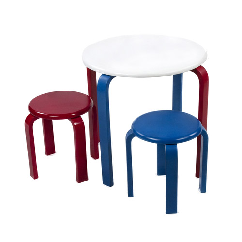 Small Kids Table Set With Stool Red White Blue In Kids