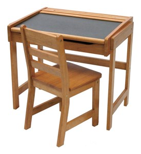 Childrens Pecan Desk with Chalkboard Top and Chair Image
