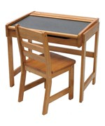 Childrens Pecan Desk with Chalkboard Top and Chair