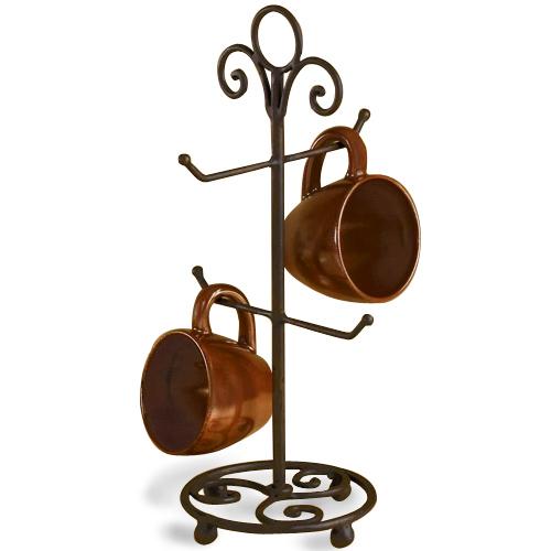 Wrought iron countertop mug holder in coffee mug holders for Coffee mug display rack