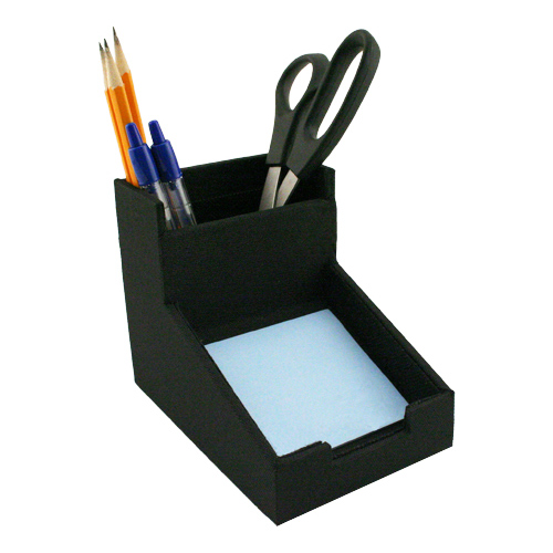 Desk Pencil Cup With Sticky Note Holder In Desk Accessories
