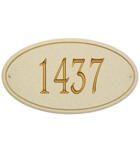 San Diego Carved Stone Oval Address Plaque Image