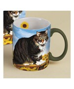 Cat and Sunflowers Ceramic Mug