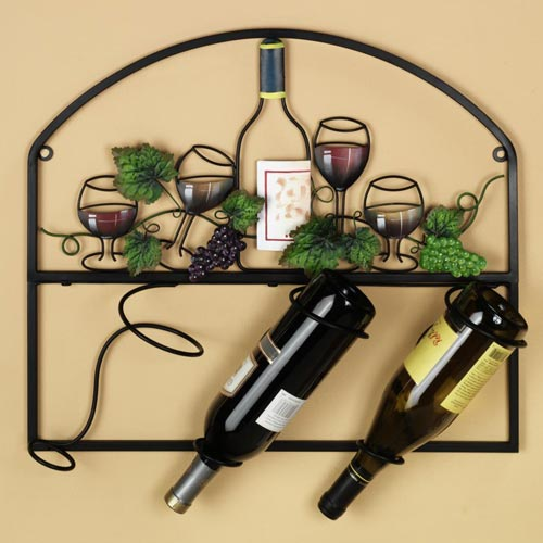 Wall Mount Vineyard Metal Wine Rack In Wine Racks