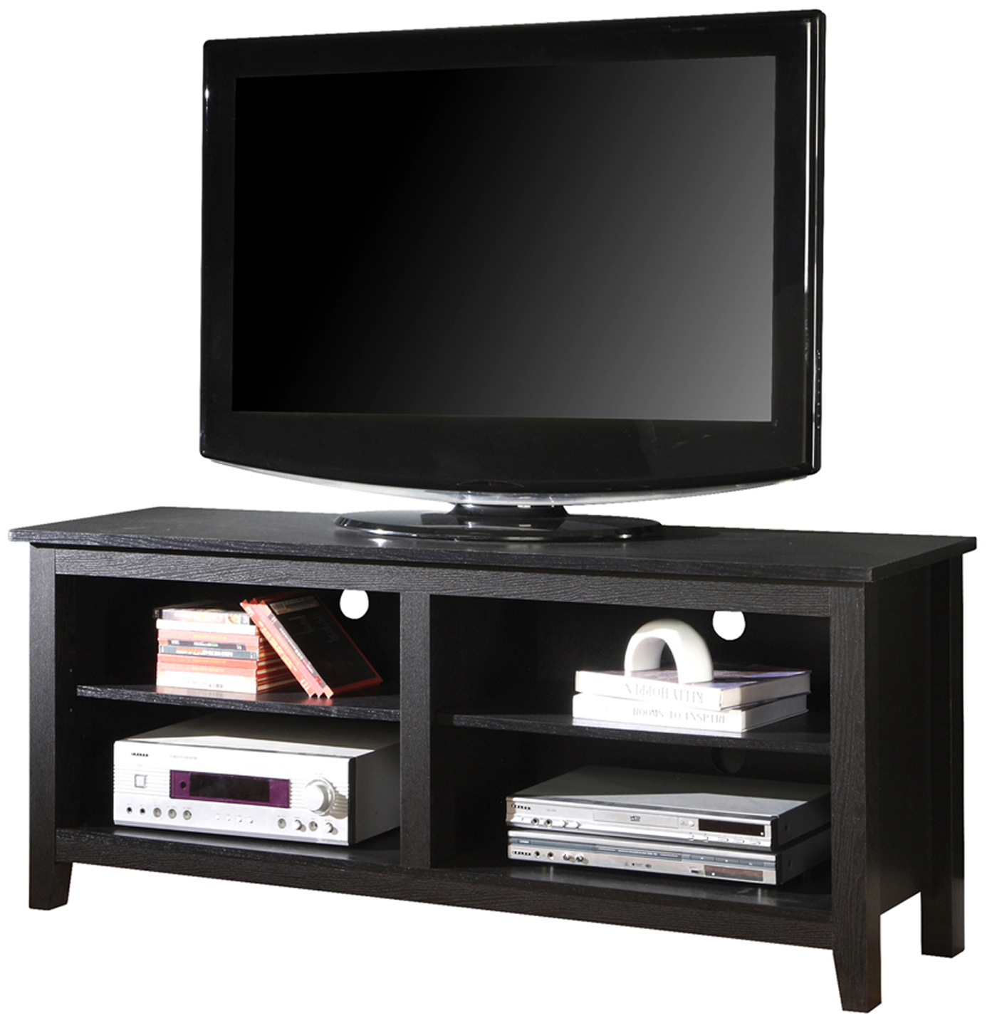 58 inch open shelf wood tv stand in tv stands. Black Bedroom Furniture Sets. Home Design Ideas
